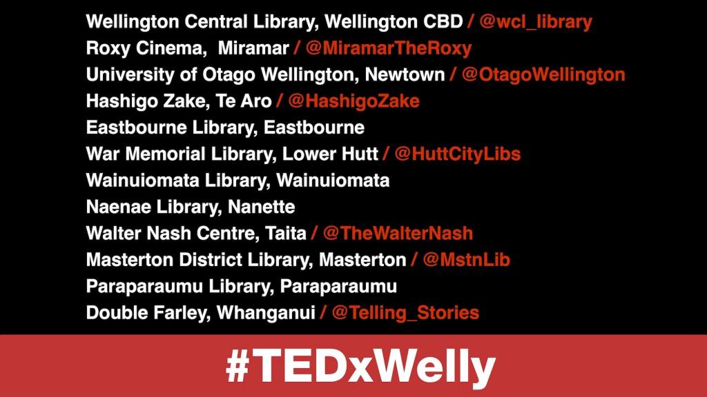 TEDxWellington Livestream Venues